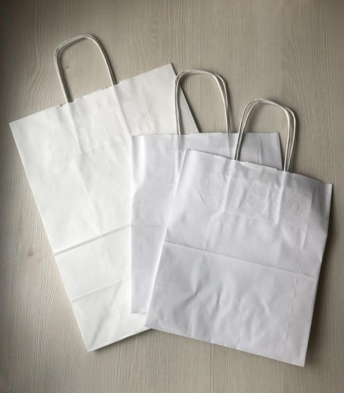 Крафт-пакеты с крученой ручкой белые
